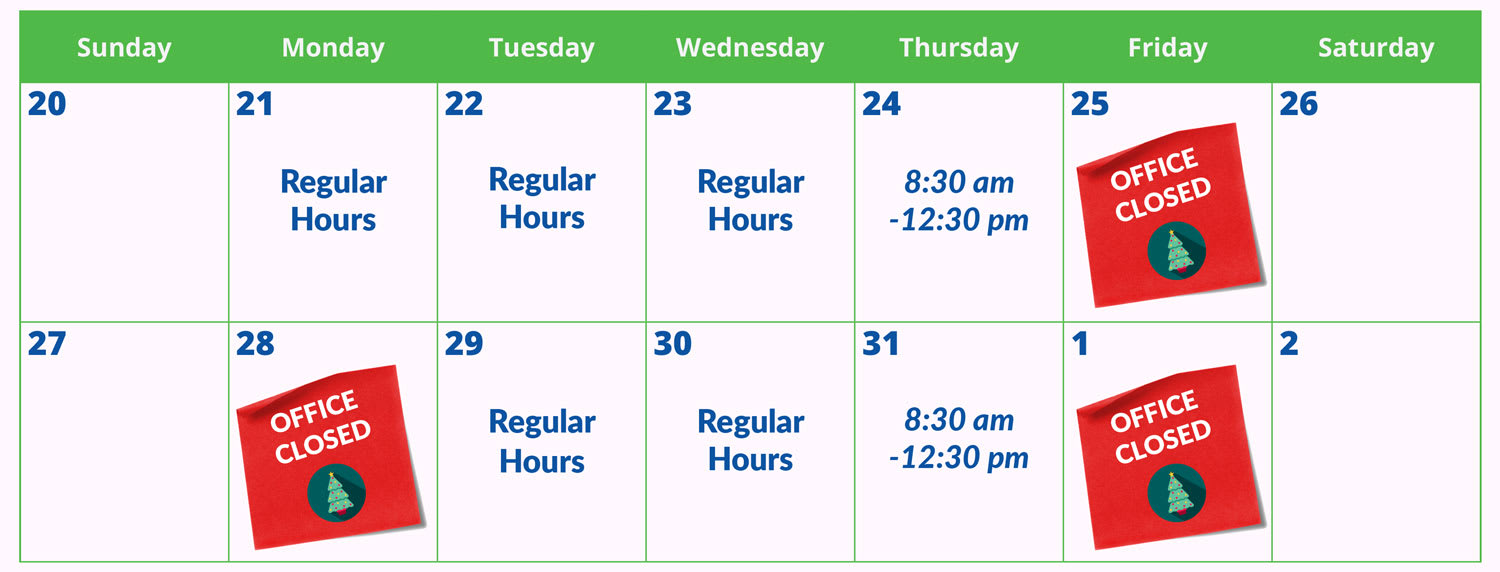 Office Holiday Schedule, Youngs Insurance, Ontario