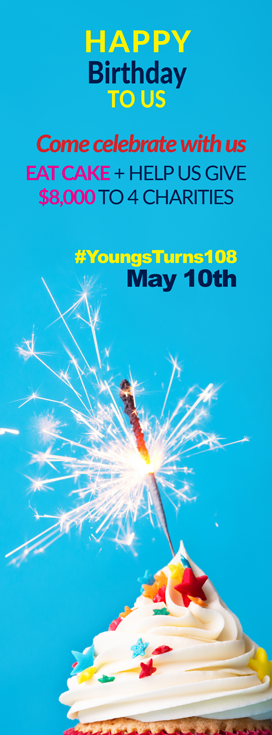 Youngs Insurance Brokers' 108th Birthday Charitable Giveaway